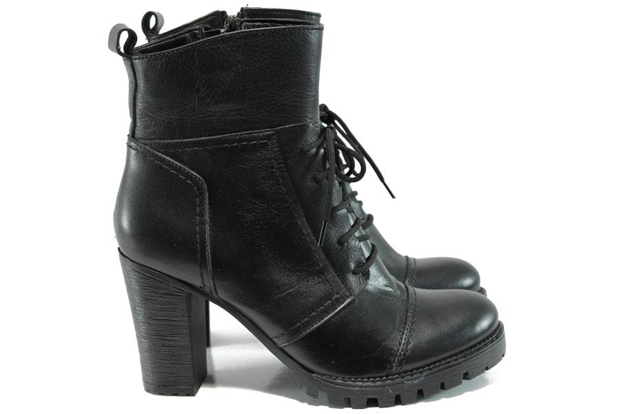 Дамски боти - естествена кожа - черни - EO-9603