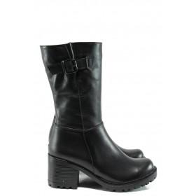 Дамски ботуши - естествена кожа - черни - EO-9616