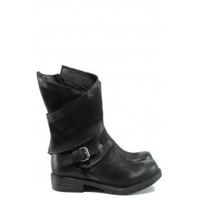 Дамски боти - естествена кожа - черни - EO-9630