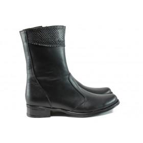 Дамски боти - естествена кожа - черни - EO-9635