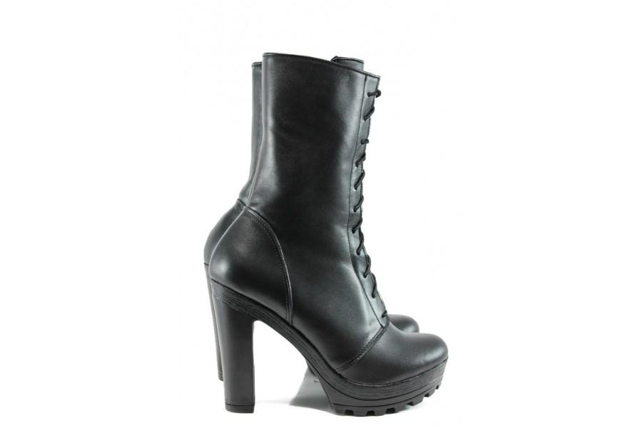 Дамски боти - естествена кожа - черни - EO-9637