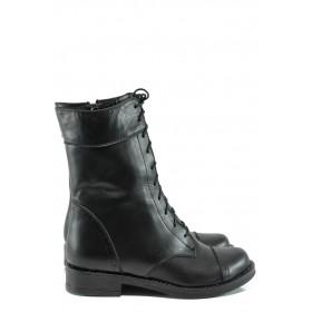 Дамски боти - естествена кожа - черни - EO-9638
