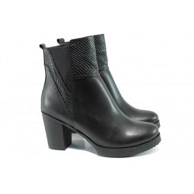 Дамски боти - естествена кожа - черни - EO-9650