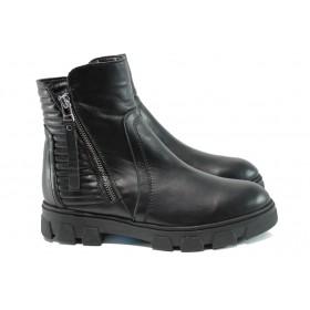 Дамски боти - естествена кожа - черни - EO-9652