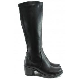 Дамски ботуши - естествена кожа - черни - EO-9697