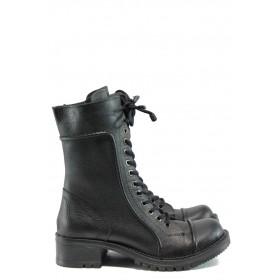 Дамски ботуши - естествена кожа - черни - EO-9716