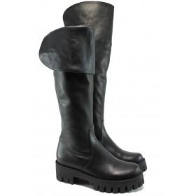 Дамски ботуши - естествена кожа - черни - EO-9743