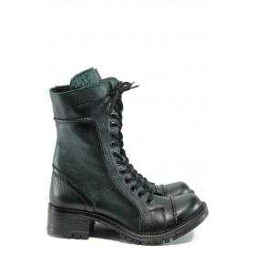 Дамски ботуши - естествена кожа - зелени - EO-9777