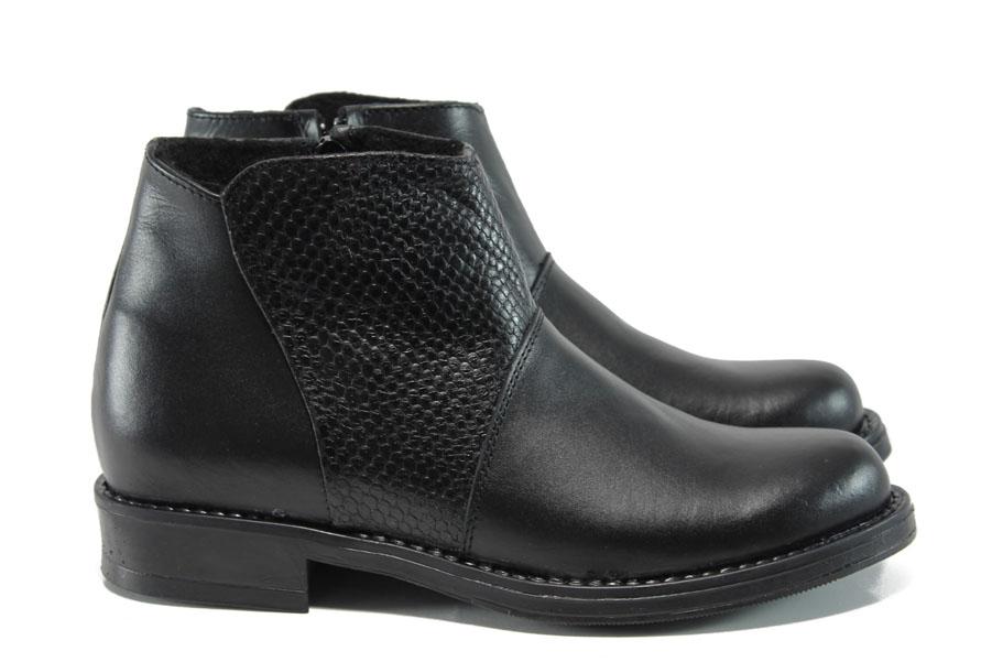 Дамски боти - естествена кожа - черни - EO-9416