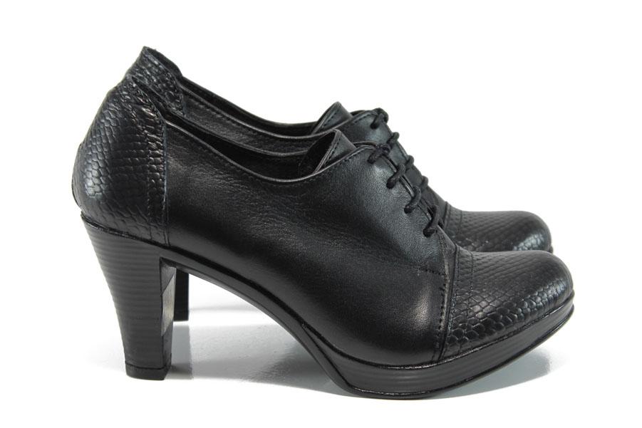 Дамски обувки на висок ток - естествена кожа - черни - EO-9418