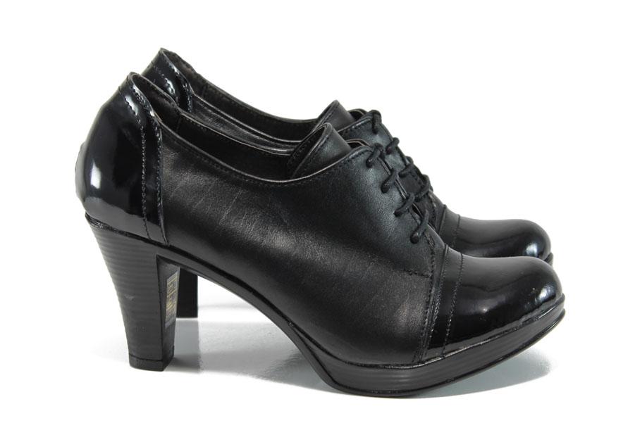 Дамски обувки на висок ток - естествена кожа-лак - черни - EO-9419