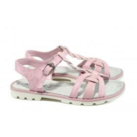 Детски сандали - висококачествена еко-кожа в съчетание с еко кожа-лак - розови - EO-8783