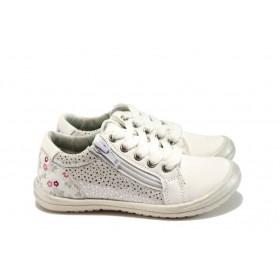 Детски обувки - висококачествена еко-кожа - бели - EO-9114