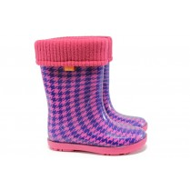 Гумени детски ботуши - висококачествен pvc материал - розови - EO-9410