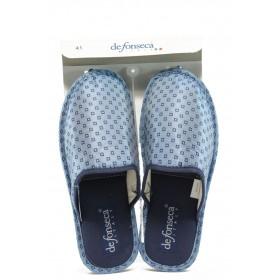 Мъжки чехли - висококачествен текстилен материал - светлосин - EO-8846