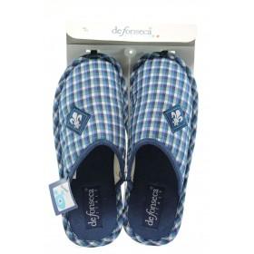 Мъжки чехли - висококачествен текстилен материал - сини - EO-8848