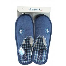 Мъжки чехли - висококачествен текстилен материал - сини - EO-8849