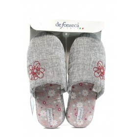 Дамски чехли - висококачествен текстилен материал - сиви - EO-8856