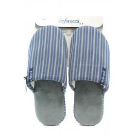 Домашни чехли - висококачествен текстилен материал - сини - EO-9076