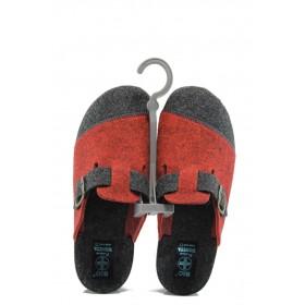 Домашни чехли - висококачествен текстилен материал - червени - EO-9432