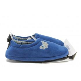 Домашни чехли - висококачествен текстилен материал - сини - EO-9507