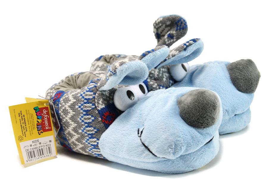 Домашни чехли - висококачествен текстилен материал - сини - EO-9613