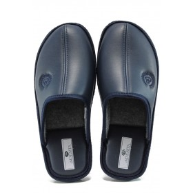 Домашни чехли - висококачествена еко-кожа - сини - EO-9788