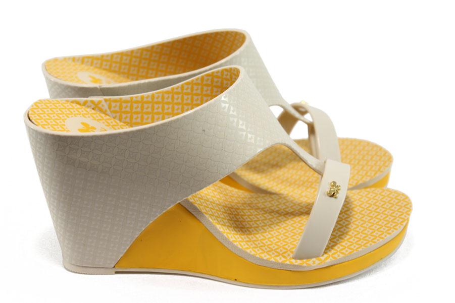 Дамски чехли - висококачествен pvc материал - жълти - EO-8591