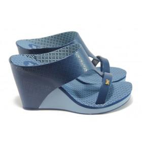 Дамски чехли - висококачествен pvc материал - сини - EO-8592