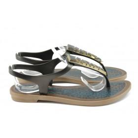Дамски сандали - висококачествен pvc материал - черни - EO-8916