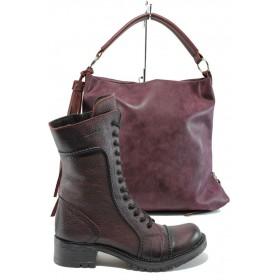 Дамска чанта и обувки в комплект -  - бордо - EO-9701