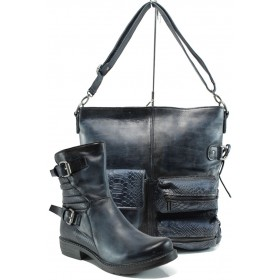 Дамска чанта и обувки в комплект -  - сини - EO-9703