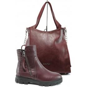 Дамска чанта и обувки в комплект -  - бордо - EO-9704