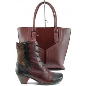 Дамска чанта и обувки в комплект -  - бордо - EO-9729