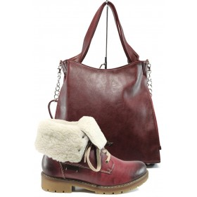 Дамска чанта и обувки в комплект -  - бордо - EO-9731