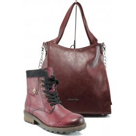 Дамска чанта и обувки в комплект -  - бордо - EO-9732