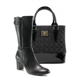 Дамска чанта и обувки в комплект -  - черни - EO-9736