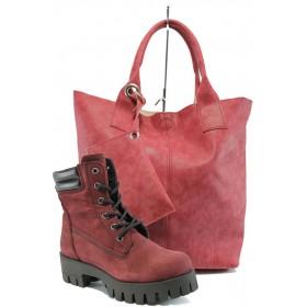 Дамска чанта и обувки в комплект -  - бордо - EO-9744