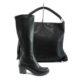 Дамска чанта и обувки в комплект -  - черни - EO-9746