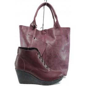Дамска чанта и обувки в комплект -  - бордо - EO-9747