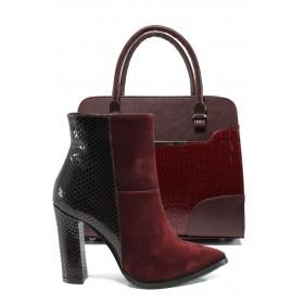 Дамска чанта и обувки в комплект -  - бордо - EO-9750