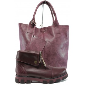Дамска чанта и обувки в комплект -  - бордо - EO-9754