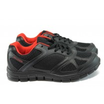 Юношески маратонки - висококачествен текстилен материал - черни - EO-8102