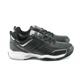 Мъжки маратонки - висококачествена еко-кожа - черни - EO-8110