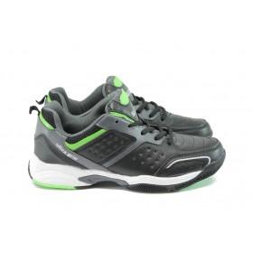 Мъжки маратонки - висококачествена еко-кожа - черни - EO-8111