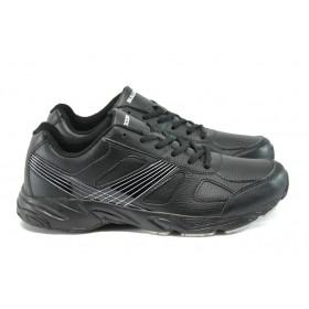 Мъжки маратонки - висококачествена еко-кожа - черни - EO-8106