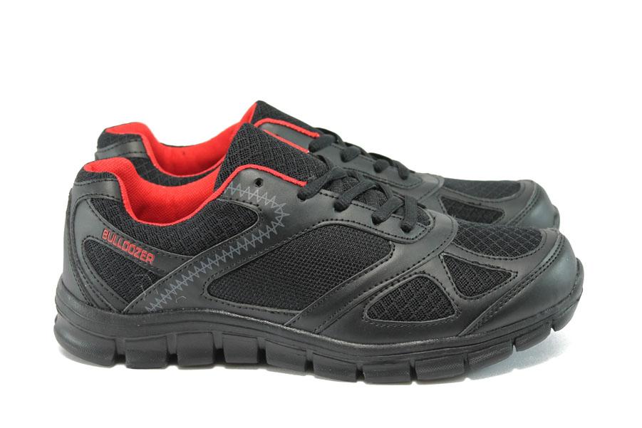 Мъжки маратонки - висококачествен текстилен материал - черни - EO-8114