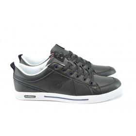 Спортни мъжки обувки - естествена кожа - черни - EO-8116