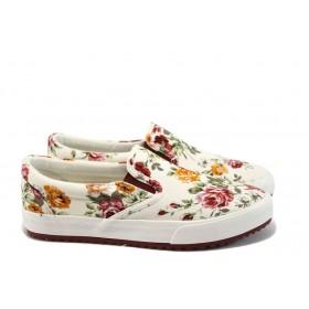 Равни дамски обувки - висококачествен текстилен материал - червени - EO-8155