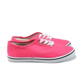 Равни дамски обувки - висококачествен текстилен материал - розови - EO-8158